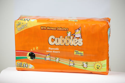 CUBBIES UNISEX BABY DIAPERS (SML) 34 PK