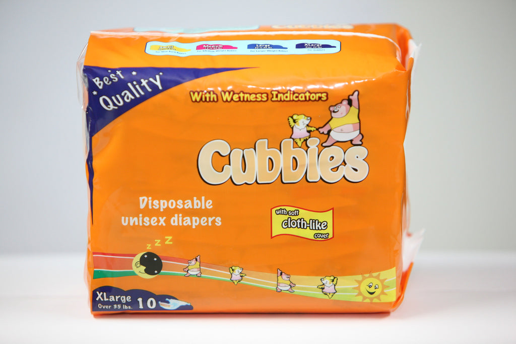 CUBBIES UNISEX BABY DIAPERS (XLARGE) 10PK
