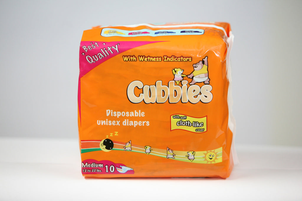 CUBBIES UNISEX BABY DIAPERS (MED) 10 PK