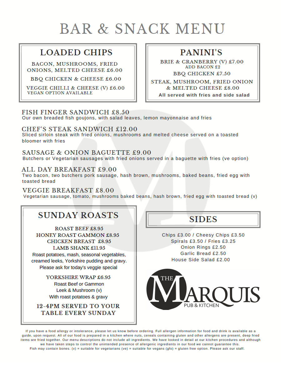 Bar & Snack Menu | The Marquis Codnor