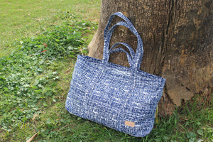 Upcycled Nomad Tote, Navy & White