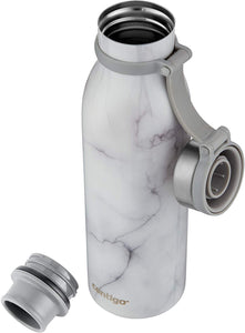 Contigo Couture Vacuum-Insulated Stainless Steel Water Bottle, 590 ML, White Marble