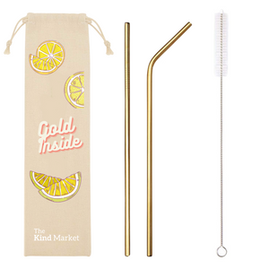 Reusable Stainless Steel Straw Set, Gold