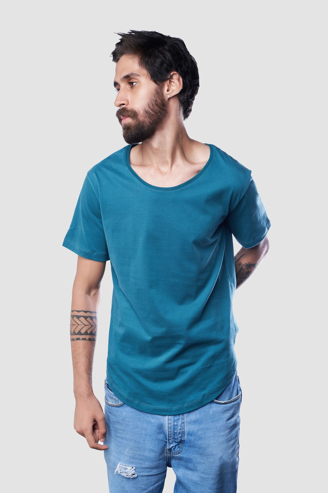 Sacer Simplicitas,T-Shirt for Men, 100% Organic Egyptian Cotton, Teal Green
