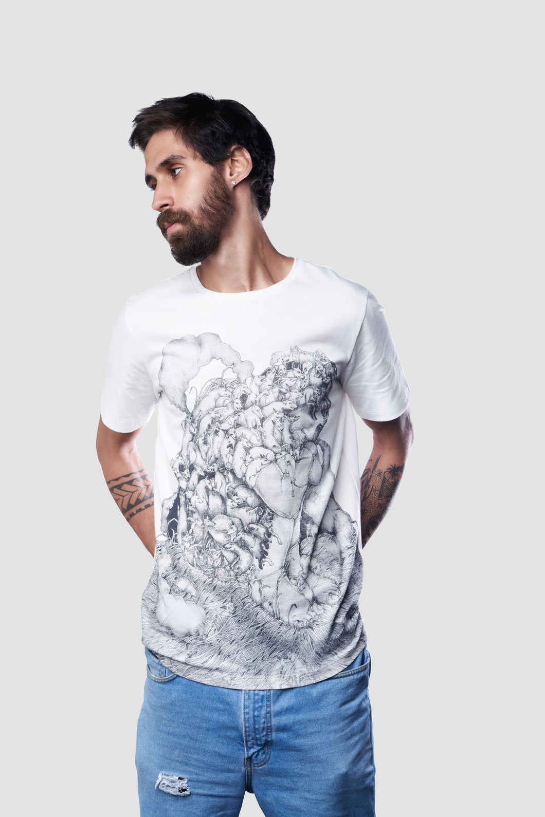 Skeletons In Your Closet, T-Shirt for Men, 100% Organic Egyptian Cotton, White