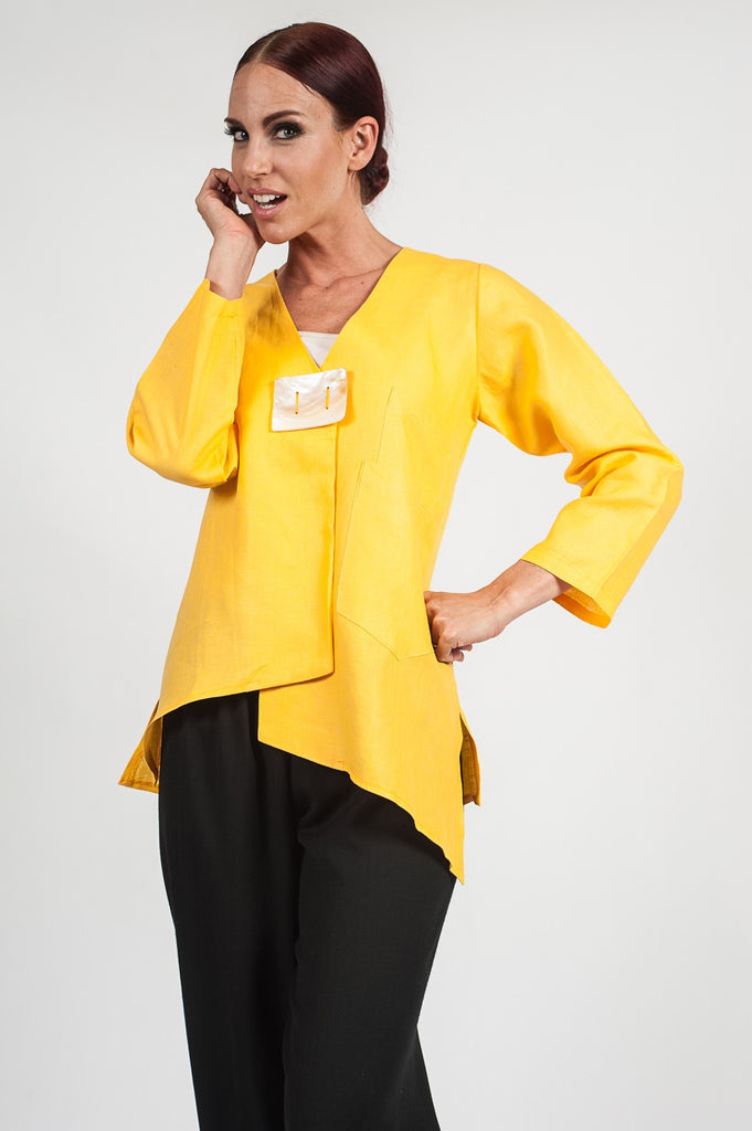 The Elizabeth Linen Jacket Yellow