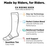 c4 socks, riding socks, sizing and features of socks equestrian team apparel
