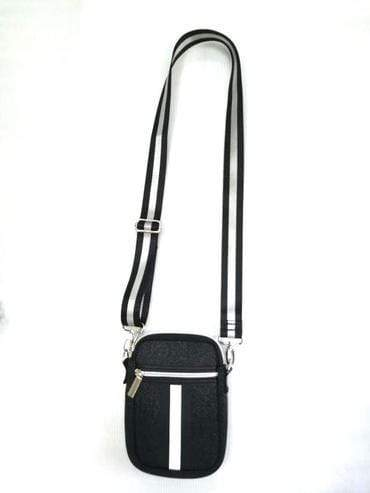 Haute Shore Bags Blk Denim/Blk & Wht Stripe Casey Cell Phone Crossbody equestrian team apparel online tack store mobile tack store custom farm apparel custom show stable clothing equestrian lifestyle horse show clothing riding clothes horses equestrian tack store