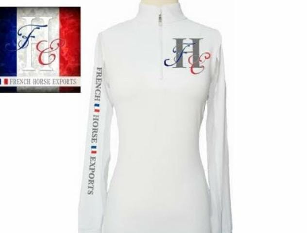 Equestrian Team Apparel Custom Team Shirts XS / white French Horse Exports Sun shirt equestrian team apparel online tack store mobile tack store custom farm apparel custom show stable clothing equestrian lifestyle horse show clothing riding clothes horses equestrian tack store