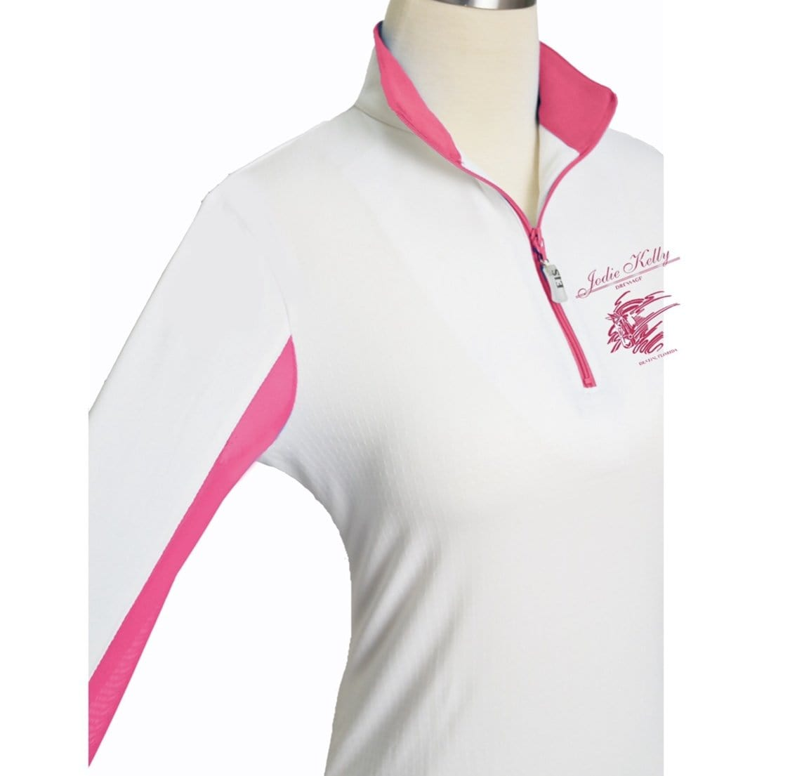 Equestrian Team Apparel Custom Team Shirts XSmall / White/Hot Pink Jodi Kelly Dressage White/Pink Women's Sunshirt equestrian team apparel online tack store mobile tack store custom farm apparel custom show stable clothing equestrian lifestyle horse show clothing riding clothes horses equestrian tack store