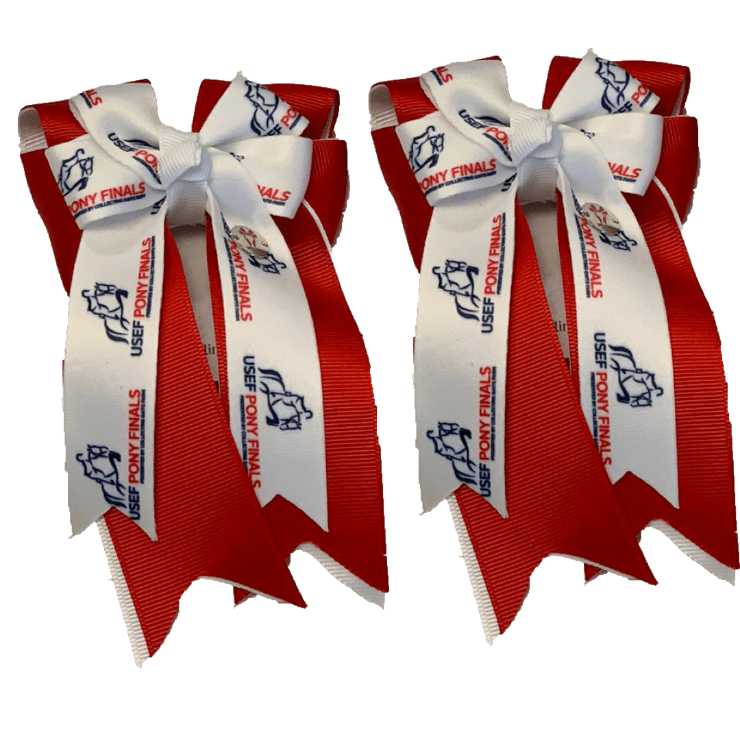 "Ponytail Bows 3"" Tails PF Red Show Bows equestrian team apparel online tack store mobile tack store custom farm apparel custom show stable clothing equestrian lifestyle horse show clothing riding clothes horses equestrian tack store"