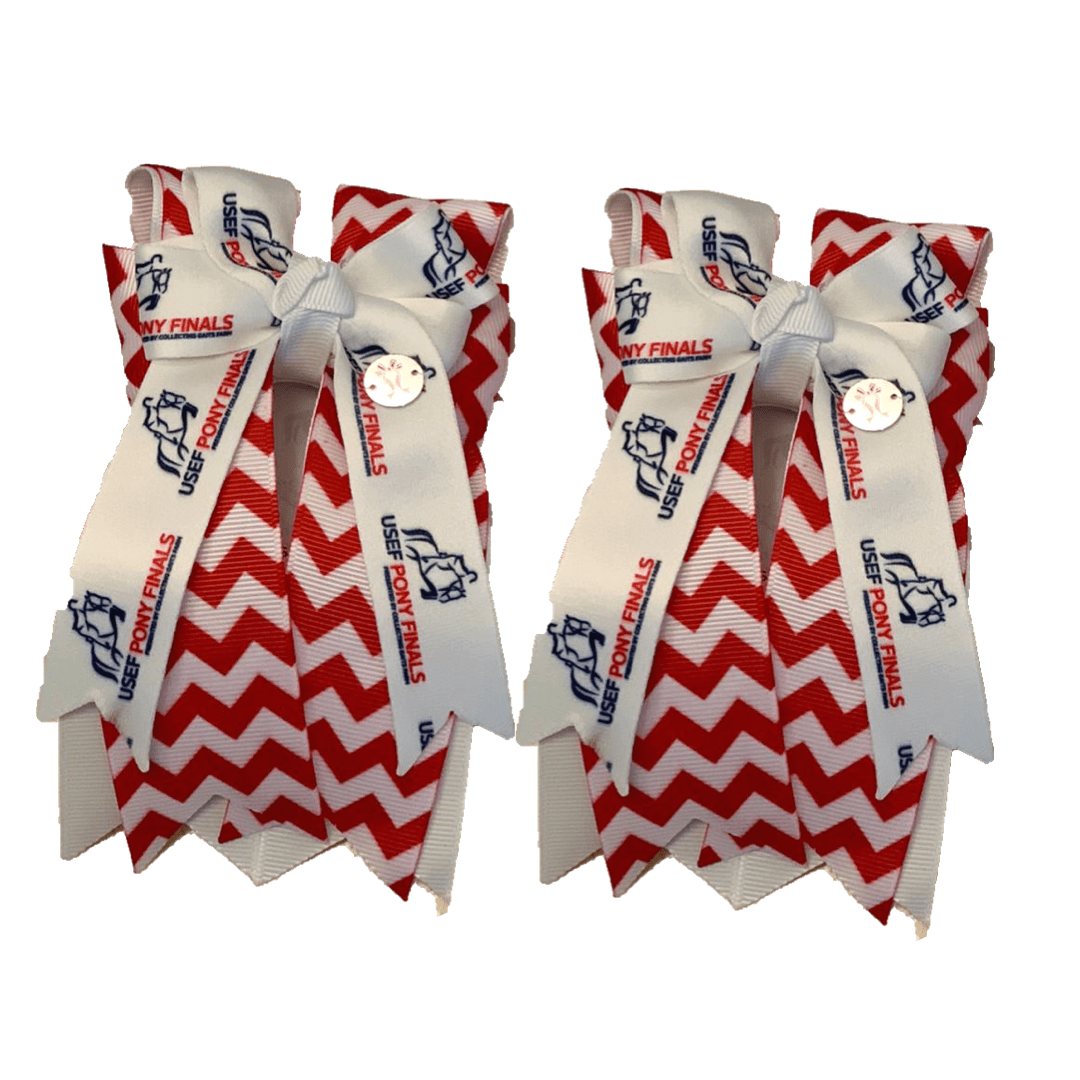 "Ponytail Bows 3"" Tails PF Red Chevron Glitter Small Show Bows equestrian team apparel online tack store mobile tack store custom farm apparel custom show stable clothing equestrian lifestyle horse show clothing riding clothes horses equestrian tack store"