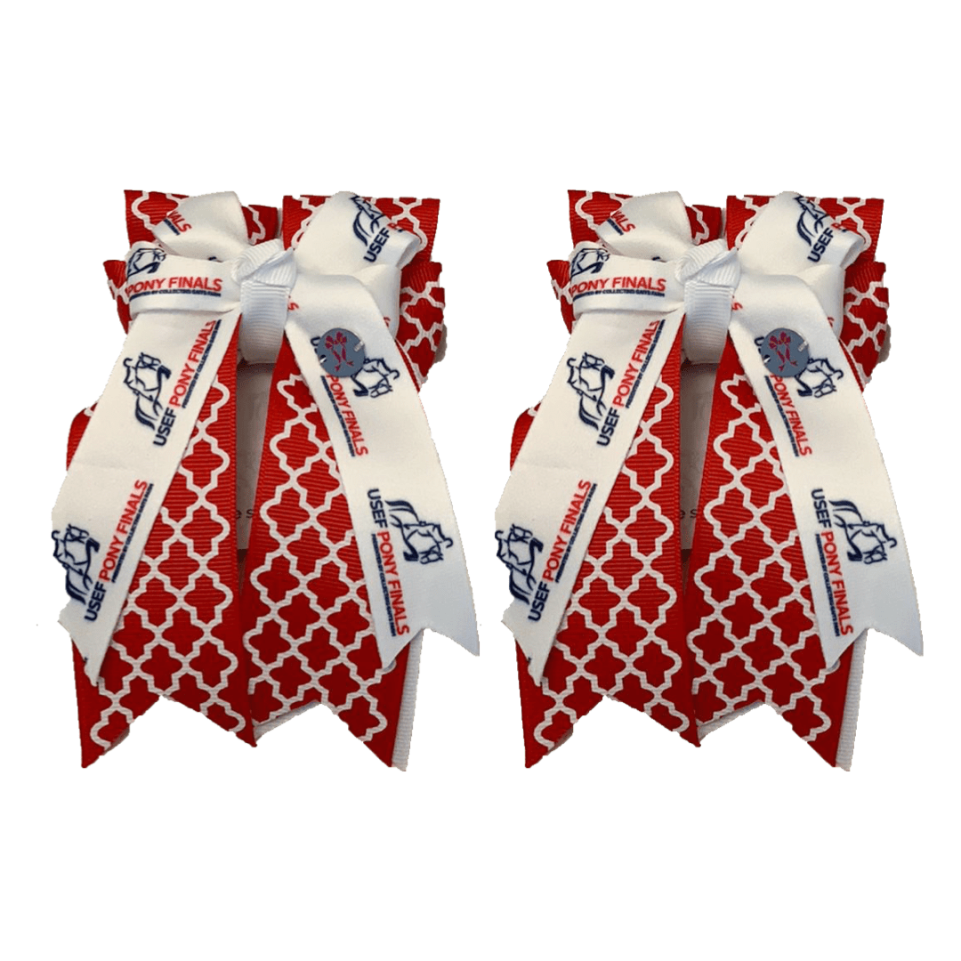 "Ponytail Bows 3"" Tails PF Red Quatrefoil Show Bows equestrian team apparel online tack store mobile tack store custom farm apparel custom show stable clothing equestrian lifestyle horse show clothing riding clothes horses equestrian tack store"