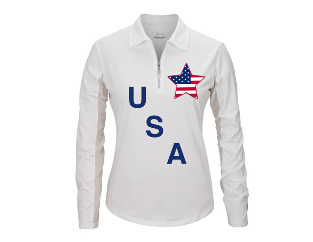 Equestrian Team Apparel Custom Shirts xs / mock USA with Star equestrian team apparel online tack store mobile tack store custom farm apparel custom show stable clothing equestrian lifestyle horse show clothing riding clothes horses equestrian tack store
