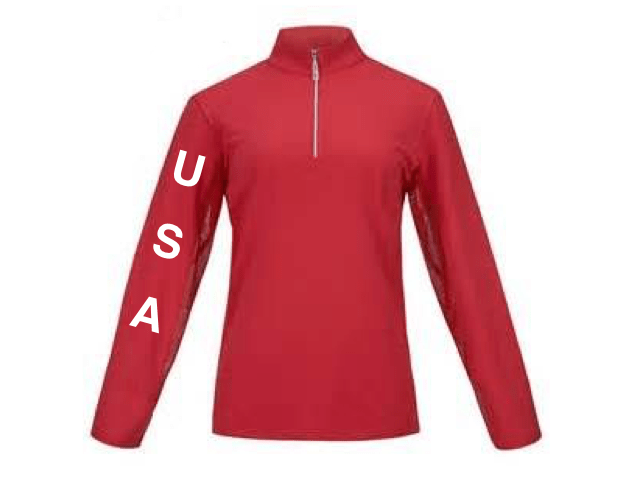Equestrian Team Apparel Custom Shirts xs / mock USA red equestrian team apparel online tack store mobile tack store custom farm apparel custom show stable clothing equestrian lifestyle horse show clothing riding clothes horses equestrian tack store