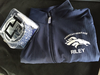 Equestrian Team Apparel Custom Team Shirts XS / Navy / Name under logo American Heritage IEA Team Sun Shirt equestrian team apparel online tack store mobile tack store custom farm apparel custom show stable clothing equestrian lifestyle horse show clothing riding clothes horses equestrian tack store