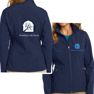 Equestrian Team Apparel Custom Team Jackets Yes / Navy/White / XS Leaning Oak Farm Shell Jacket equestrian team apparel online tack store mobile tack store custom farm apparel custom show stable clothing equestrian lifestyle horse show clothing riding clothes horses equestrian tack store