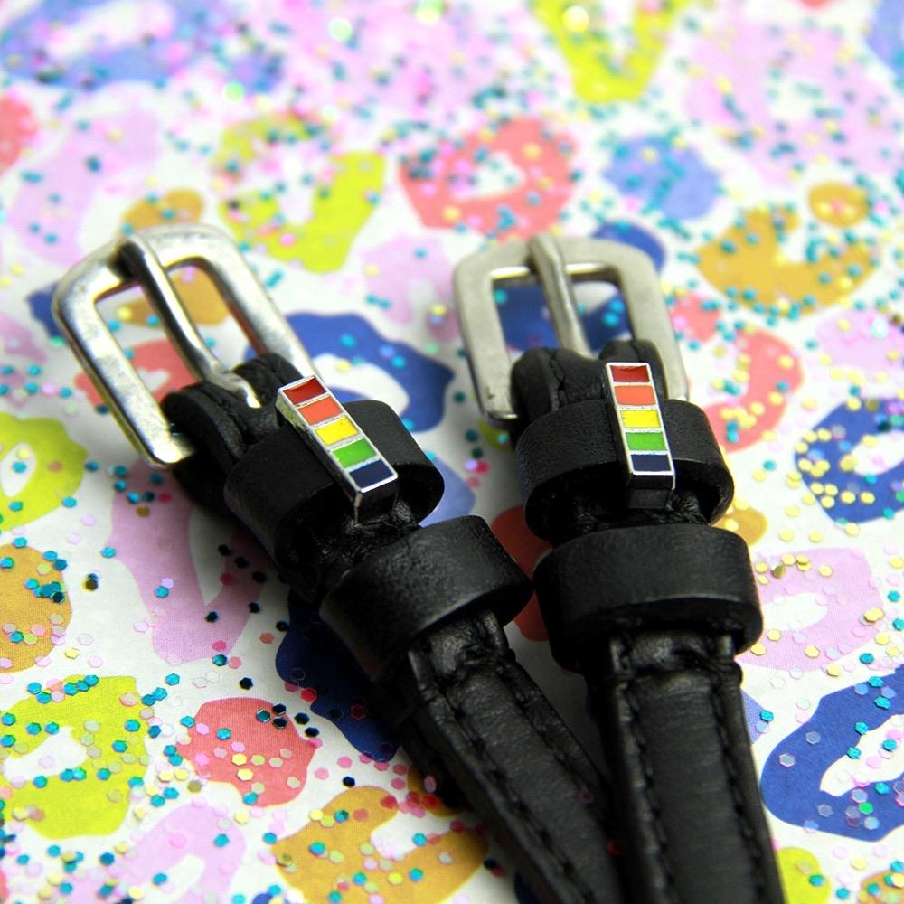 ManeJane Black Spur Straps Rainbow Stick Spur Straps equestrian team apparel online tack store mobile tack store custom farm apparel custom show stable clothing equestrian lifestyle horse show clothing riding clothes horses equestrian tack store