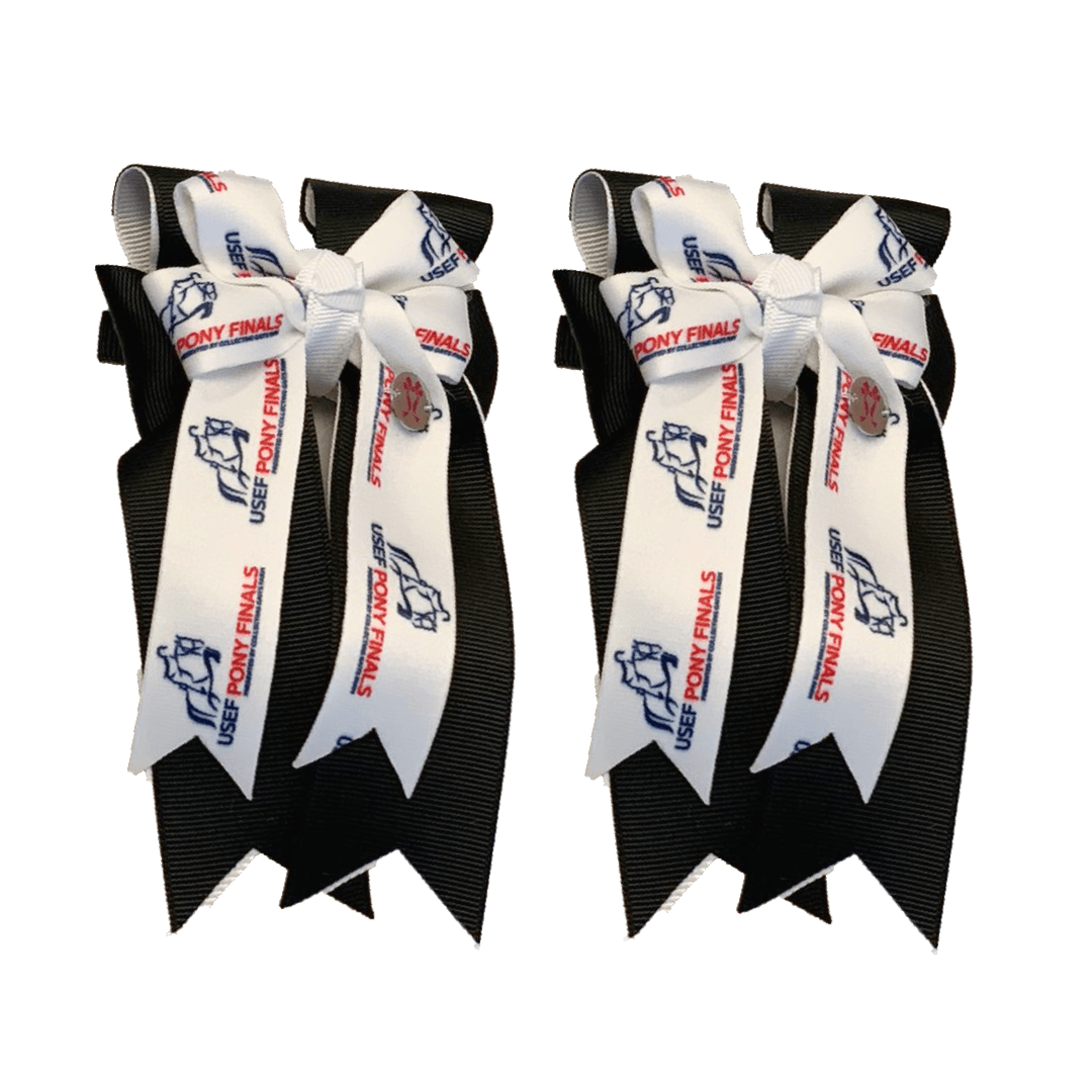 "Ponytail Bows 3"" Tails PF Black Show Bows equestrian team apparel online tack store mobile tack store custom farm apparel custom show stable clothing equestrian lifestyle horse show clothing riding clothes horses equestrian tack store"