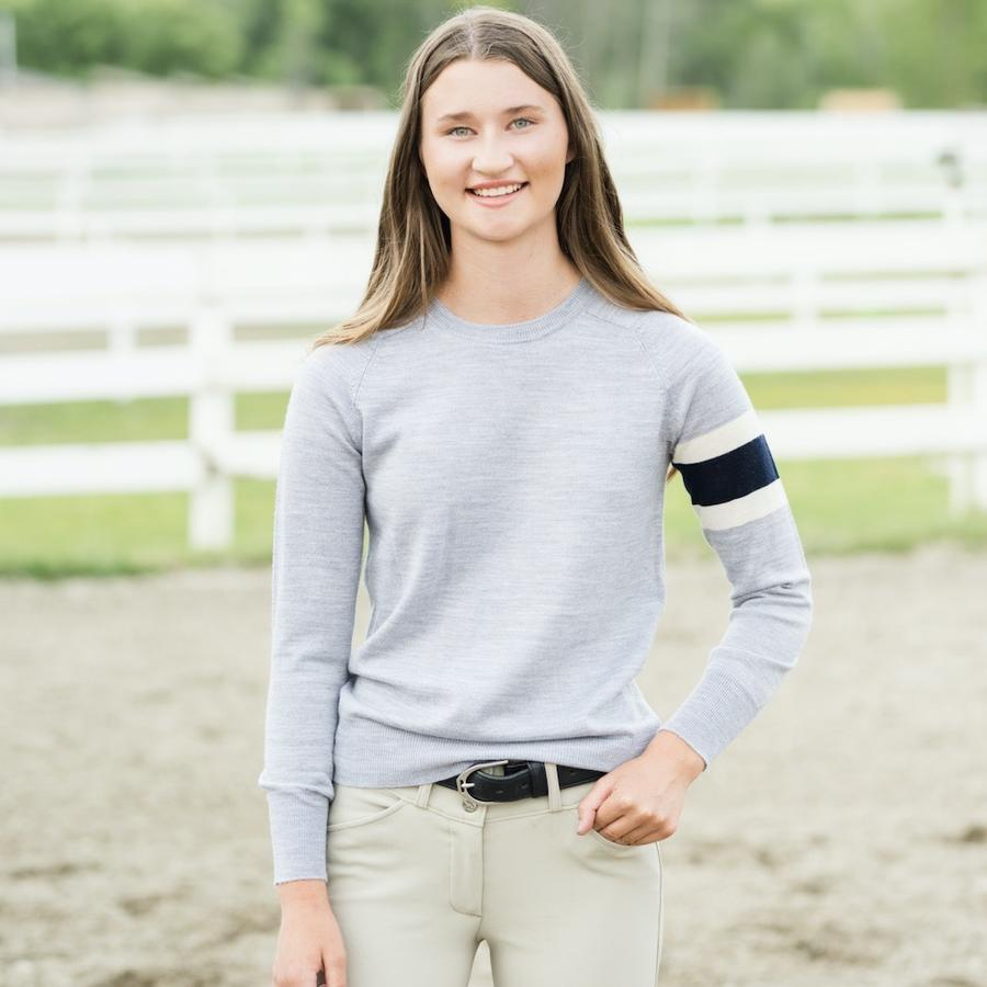 TKEQ Women's Casual Shirt Armband Crewneck TKEQ equestrian team apparel online tack store mobile tack store custom farm apparel custom show stable clothing equestrian lifestyle horse show clothing riding clothes horses equestrian tack store