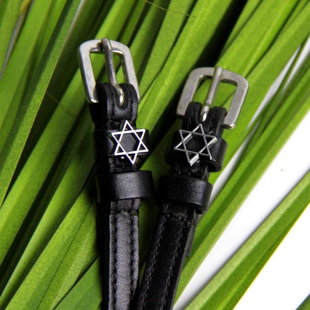 ManeJane Black Spur Straps Star of David Spur Straps equestrian team apparel online tack store mobile tack store custom farm apparel custom show stable clothing equestrian lifestyle horse show clothing riding clothes horses equestrian tack store