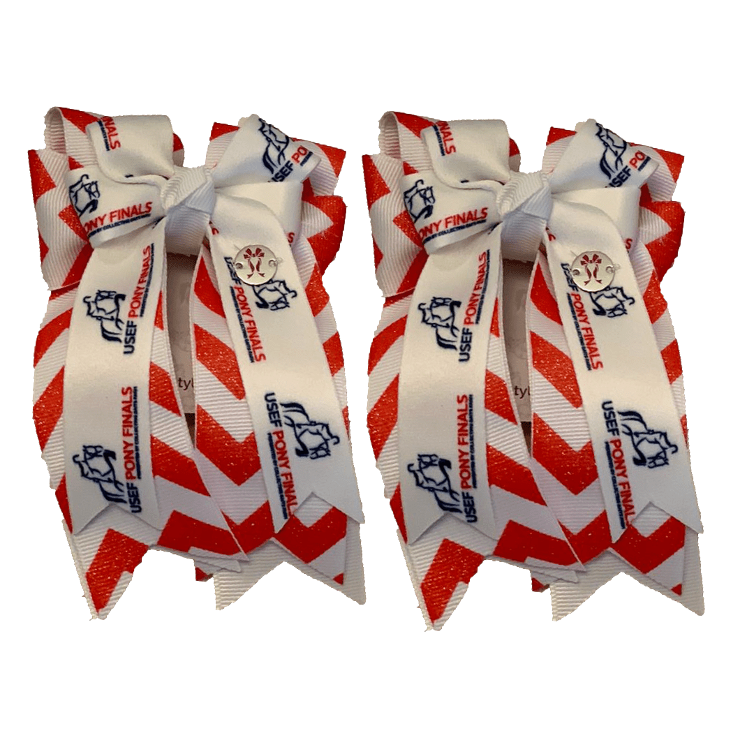 "Ponytail Bows 3"" Tails PF Red Chevron Glitter Show Bows equestrian team apparel online tack store mobile tack store custom farm apparel custom show stable clothing equestrian lifestyle horse show clothing riding clothes horses equestrian tack store"