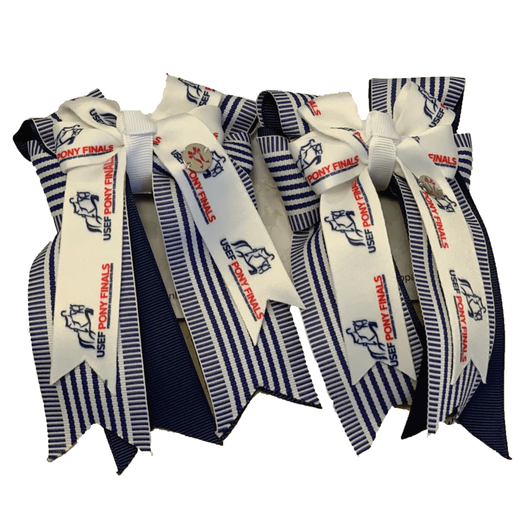 "Ponytail Bows 3"" Tails PF Navy Sailor Show Bows equestrian team apparel online tack store mobile tack store custom farm apparel custom show stable clothing equestrian lifestyle horse show clothing riding clothes horses equestrian tack store"