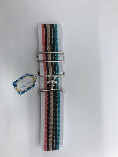 Blue Ribbon Belts Belt White Multicolor Blue Ribbon Belts - 2 Inch equestrian team apparel online tack store mobile tack store custom farm apparel custom show stable clothing equestrian lifestyle horse show clothing riding clothes horses equestrian tack store