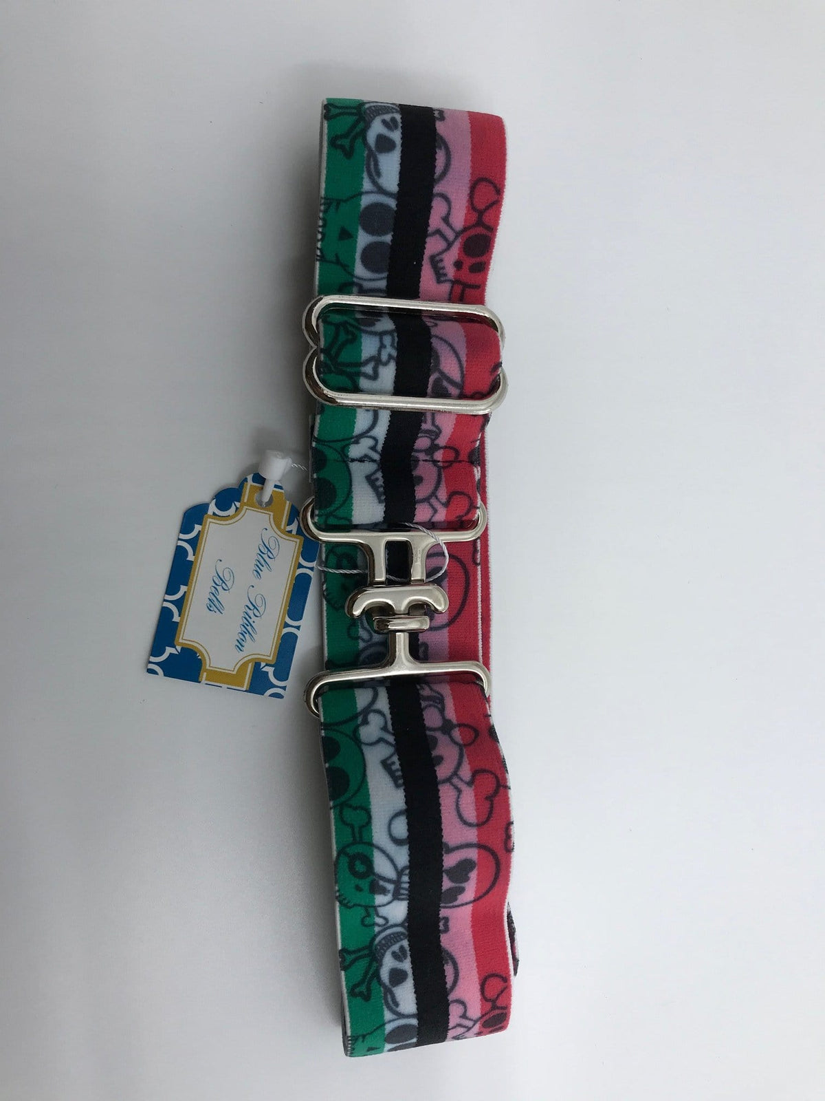 "Blue Ribbon Belts Belt Pink Skull Blue Ribbon Belts 1.5"" equestrian team apparel online tack store mobile tack store custom farm apparel custom show stable clothing equestrian lifestyle horse show clothing riding clothes horses equestrian tack store"