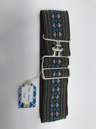 Blue Ribbon Belts Belt Black/Yellow/Blue Pattern Blue Ribbon Belts - 2 Inch equestrian team apparel online tack store mobile tack store custom farm apparel custom show stable clothing equestrian lifestyle horse show clothing riding clothes horses equestrian tack store