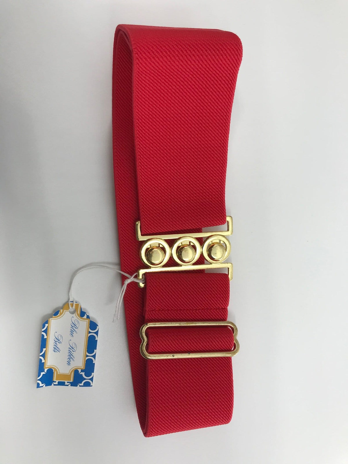Blue Ribbon Belts Belt Red with Triple Circle Gold Blue Ribbon Belts - 2 Inch equestrian team apparel online tack store mobile tack store custom farm apparel custom show stable clothing equestrian lifestyle horse show clothing riding clothes horses equestrian tack store