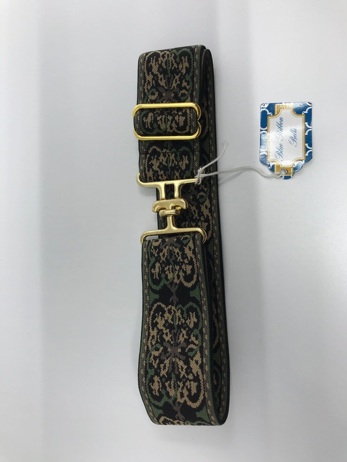 "Blue Ribbon Belts Belt Green Regal/ Gold Buckle Blue Ribbon Belts 1.5"" equestrian team apparel online tack store mobile tack store custom farm apparel custom show stable clothing equestrian lifestyle horse show clothing riding clothes horses equestrian tack store"