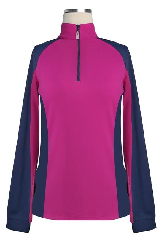 EIS Sunshirt XS / pink Raspberry & Navy EIS Women's Sun Shirt equestrian team apparel online tack store mobile tack store custom farm apparel custom show stable clothing equestrian lifestyle horse show clothing riding clothes Brighten up your ride with EIS at Equestrian Team Apparel horses equestrian tack store