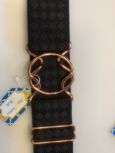 Blue Ribbon Belts Belt Black/ Rose Gold Circle Blue Ribbon Belts - 2 Inch equestrian team apparel online tack store mobile tack store custom farm apparel custom show stable clothing equestrian lifestyle horse show clothing riding clothes horses equestrian tack store