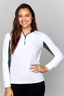 EIS Sunshirt White/Hunter Green EIS Sunshirt equestrian team apparel online tack store mobile tack store custom farm apparel custom show stable clothing equestrian lifestyle horse show clothing riding clothes horses equestrian tack store