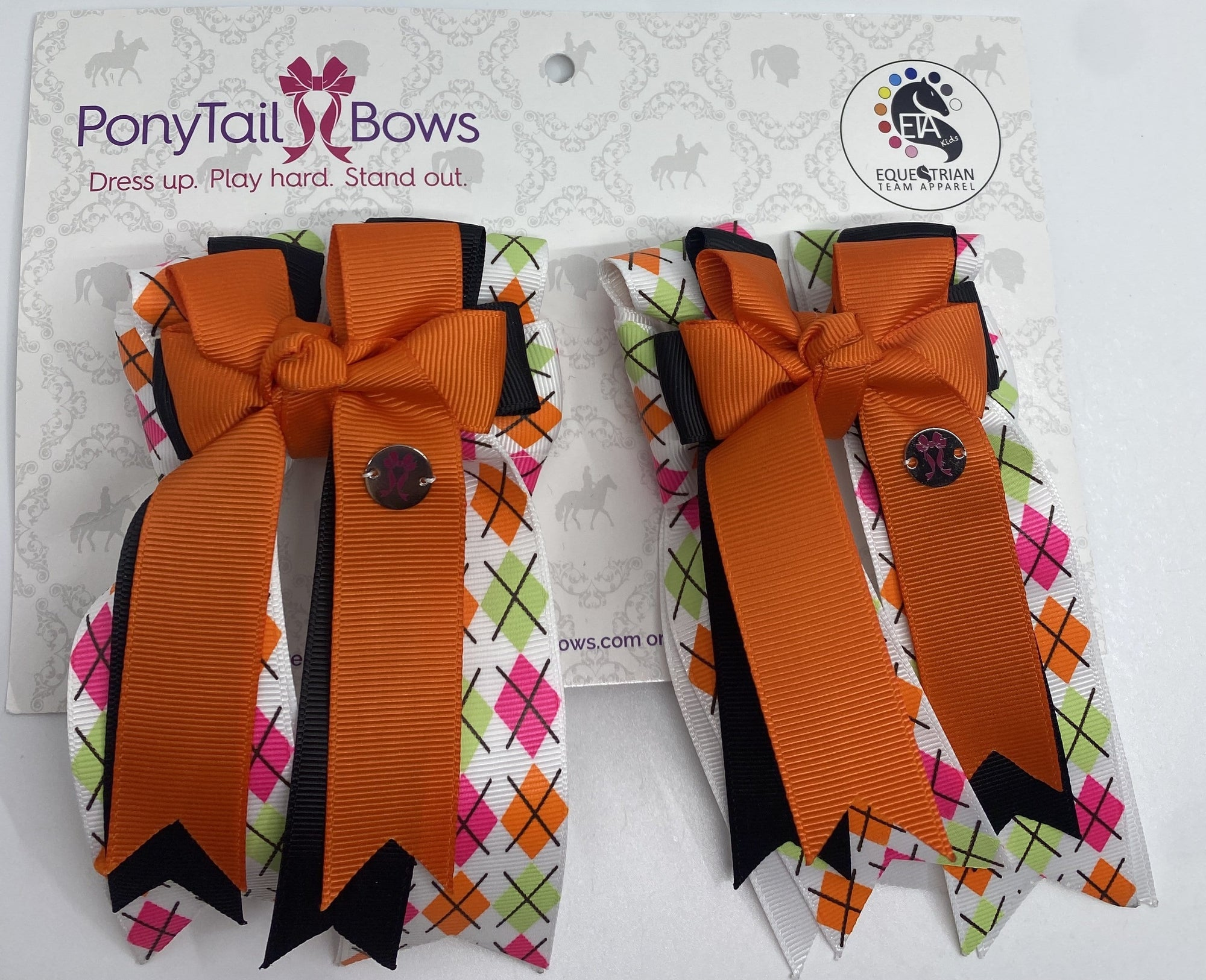"PonyTail Bows 3"" Tails Argyle Orange/Black PonyTail Bows equestrian team apparel online tack store mobile tack store custom farm apparel custom show stable clothing equestrian lifestyle horse show clothing riding clothes PonyTail Bows 