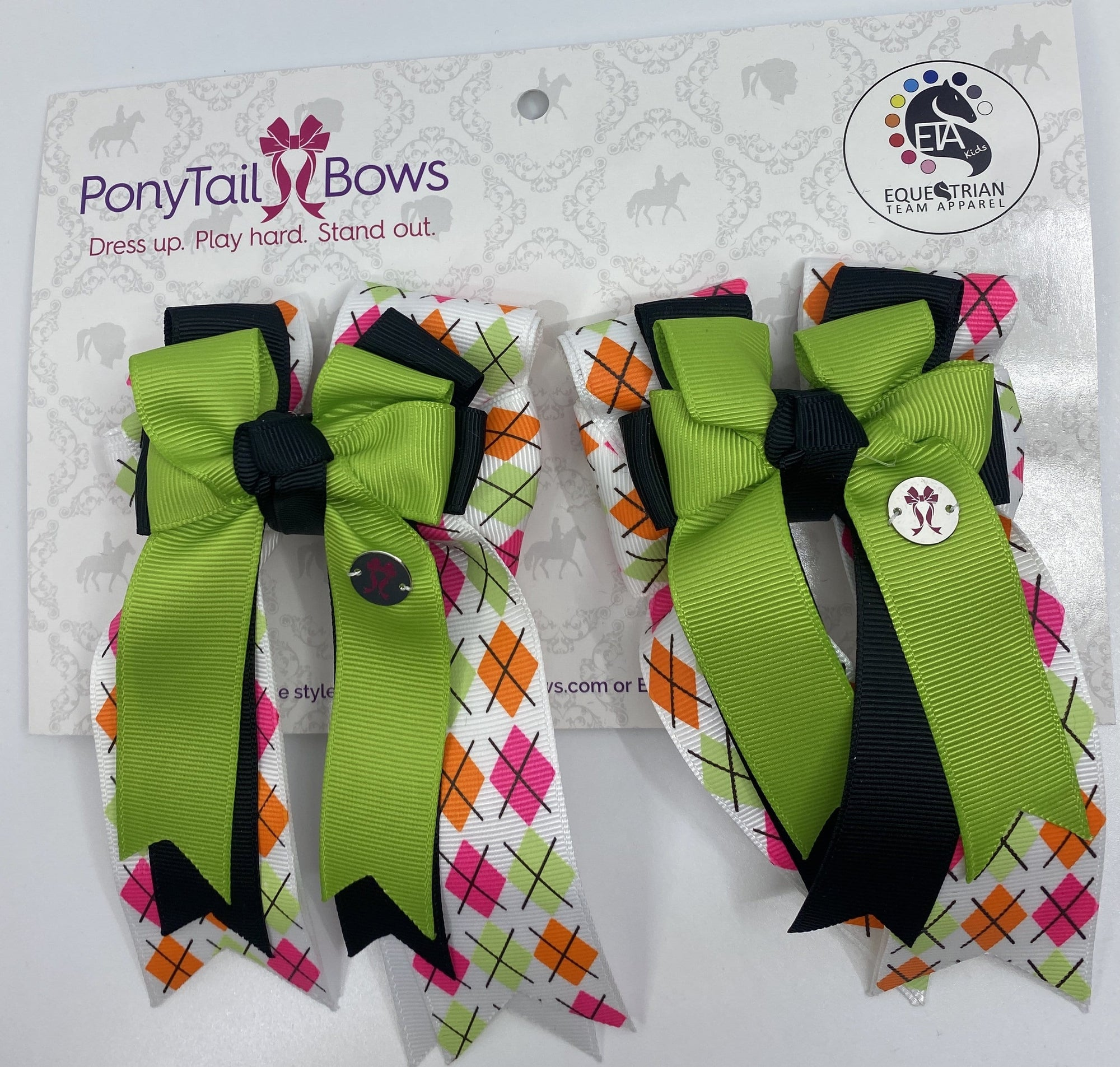 "PonyTail Bows 3"" Tails Argyle Lime/Black PonyTail Bows equestrian team apparel online tack store mobile tack store custom farm apparel custom show stable clothing equestrian lifestyle horse show clothing riding clothes PonyTail Bows 
