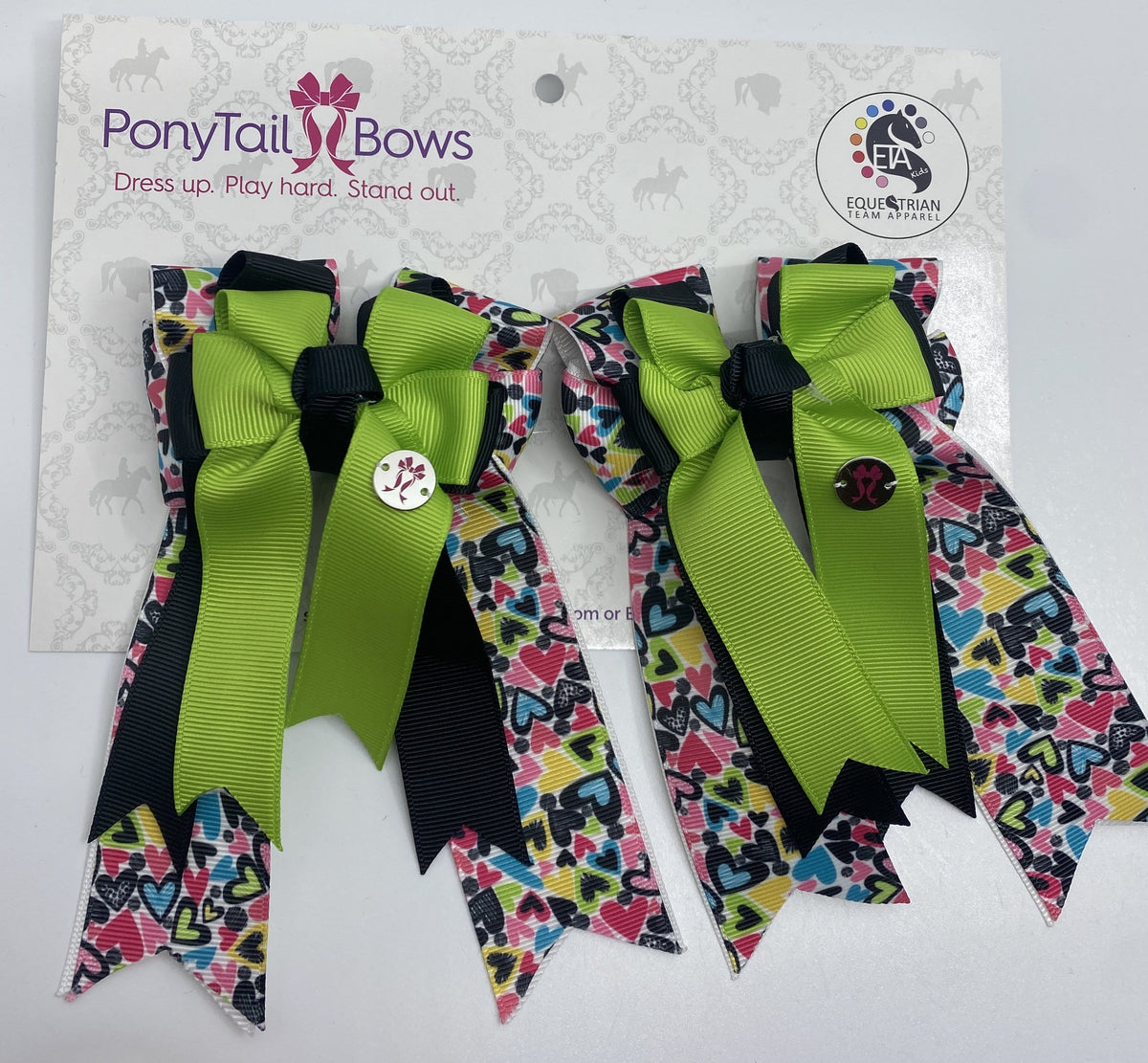"PonyTail Bows 3"" Tails All The Hearts Lime PonyTail Bows equestrian team apparel online tack store mobile tack store custom farm apparel custom show stable clothing equestrian lifestyle horse show clothing riding clothes PonyTail Bows 