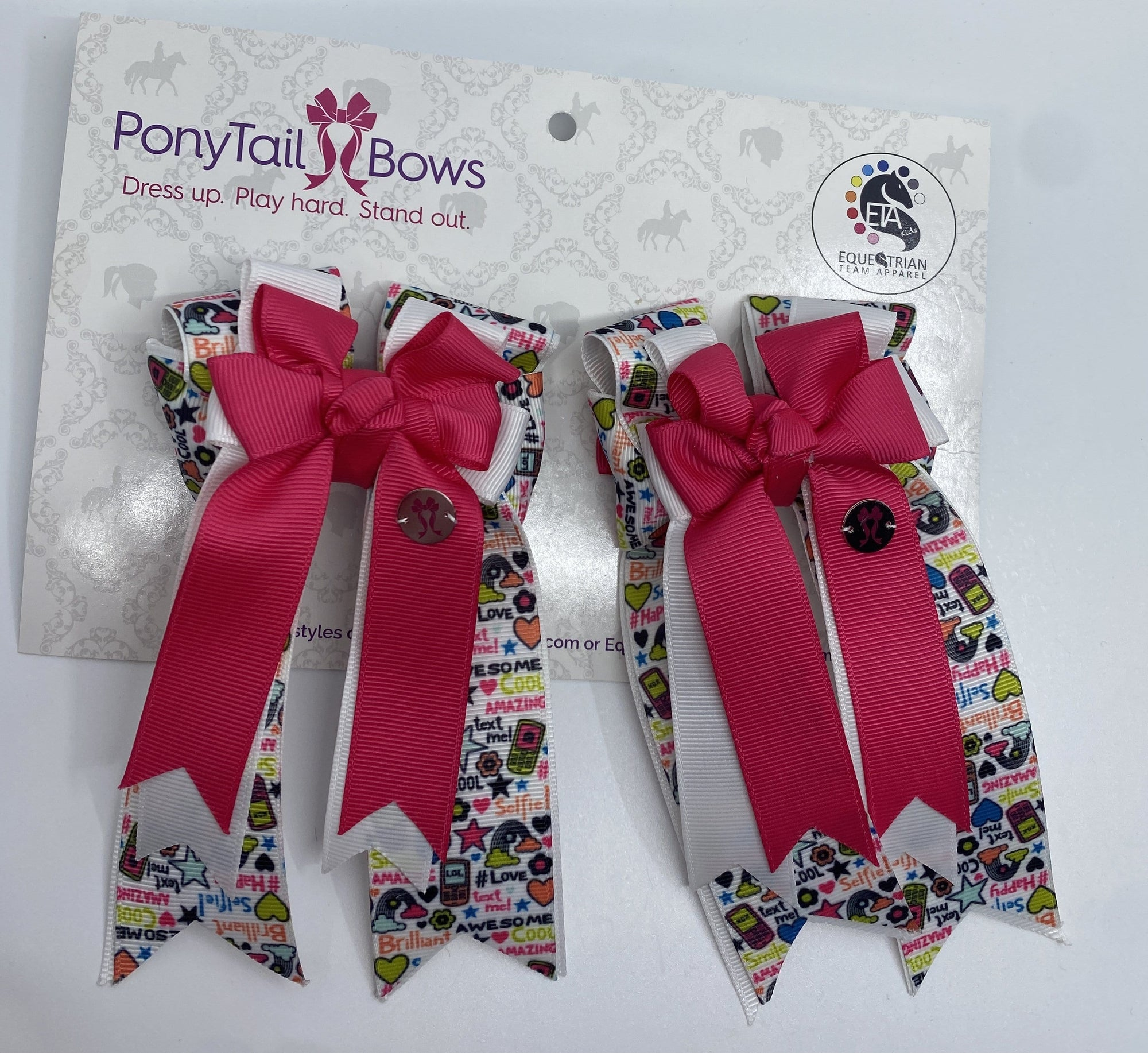 "PonyTail Bows 3"" Tails All The Things Pink PonyTail Bows equestrian team apparel online tack store mobile tack store custom farm apparel custom show stable clothing equestrian lifestyle horse show clothing riding clothes PonyTail Bows 