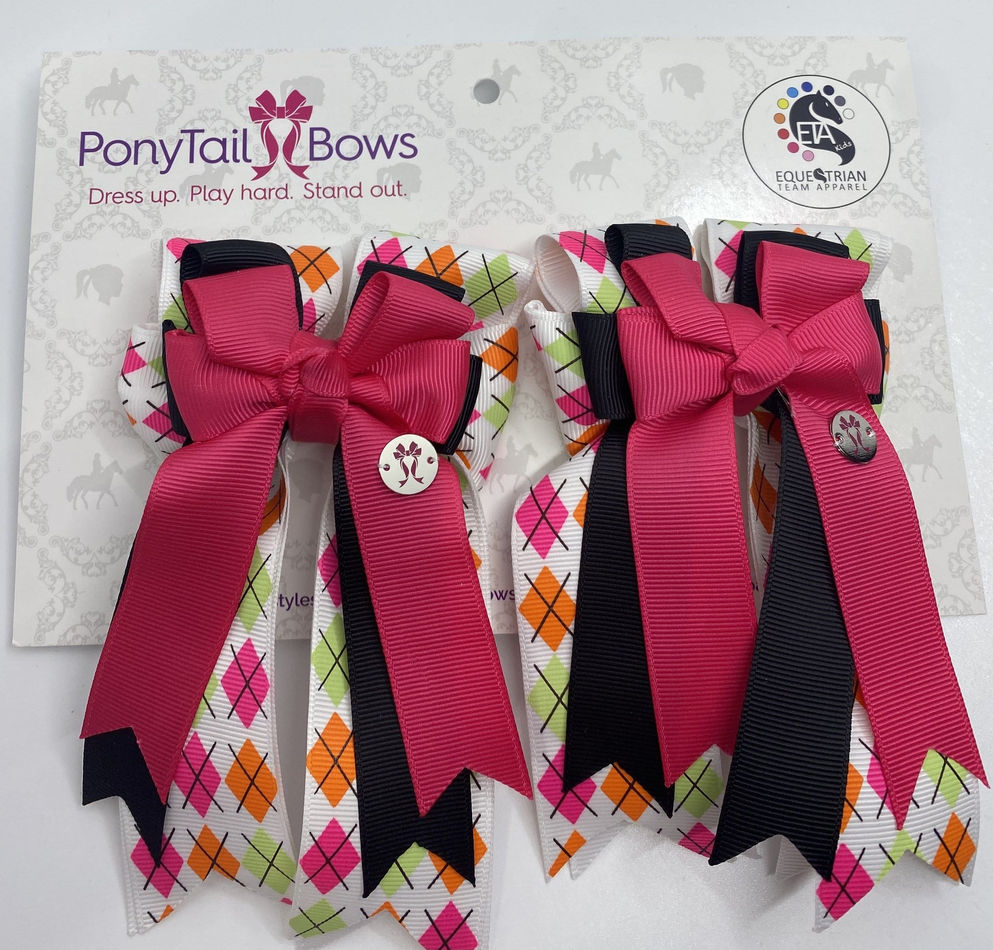 "PonyTail Bows 3"" Tails Argyle Pink/Black PonyTail Bows equestrian team apparel online tack store mobile tack store custom farm apparel custom show stable clothing equestrian lifestyle horse show clothing riding clothes PonyTail Bows 
