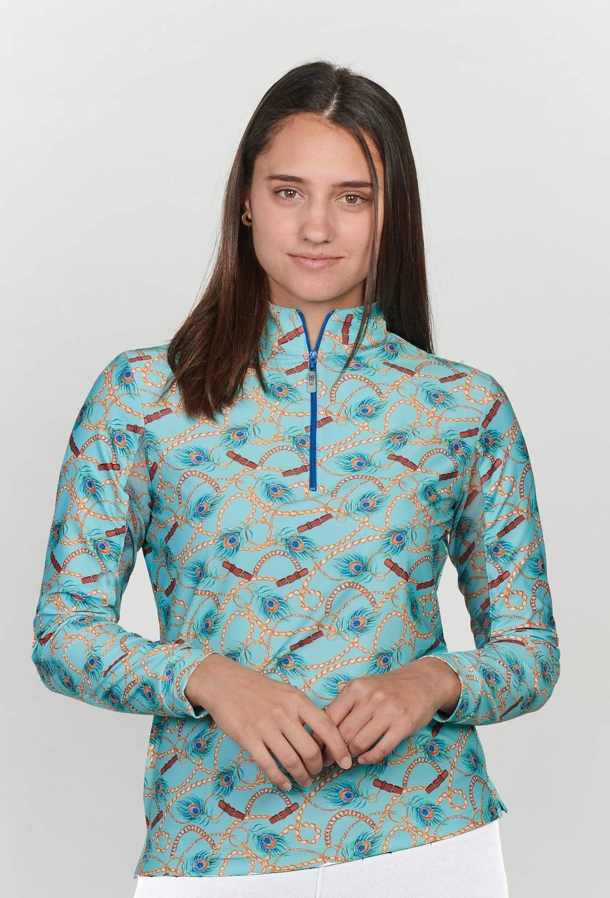 EIS Sunshirt EIS Peacock Patterned Sunshirt equestrian team apparel online tack store mobile tack store custom farm apparel custom show stable clothing equestrian lifestyle horse show clothing riding clothes horses equestrian tack store