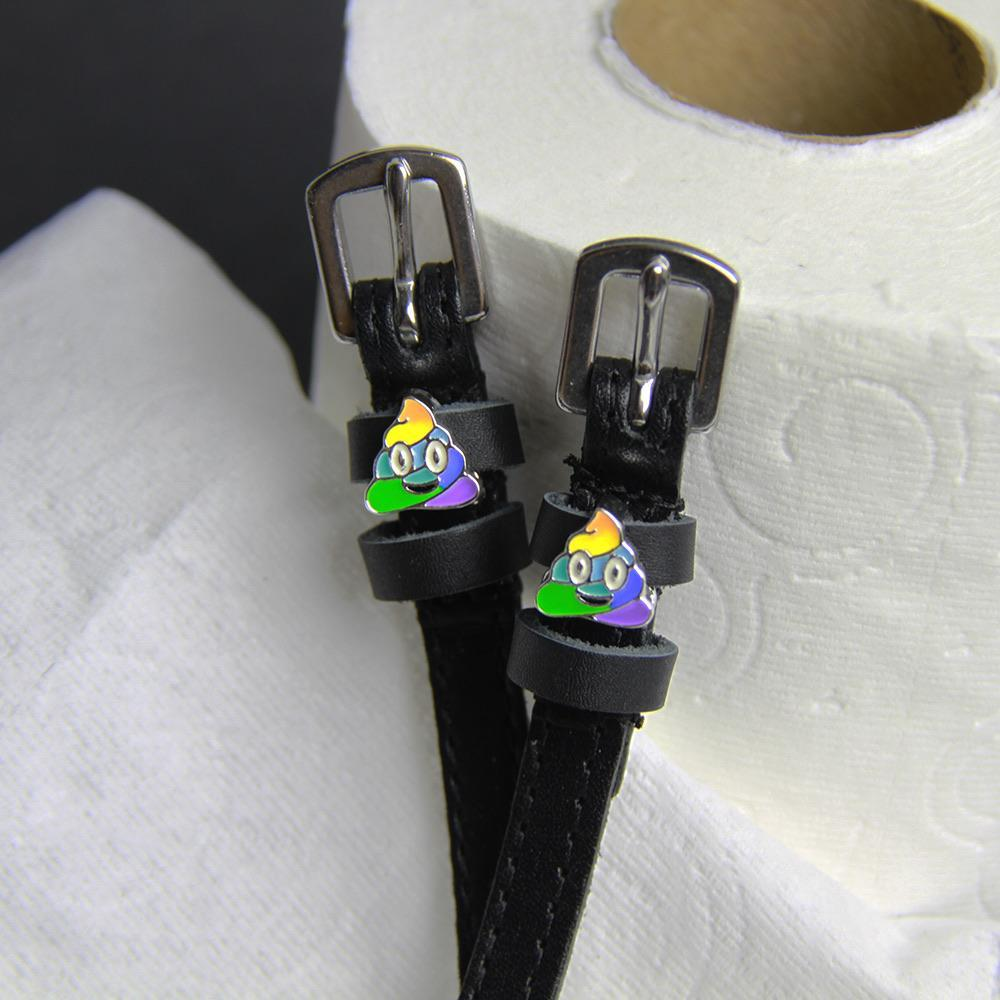 ManeJane Black Spur Straps Rainbow Poop Spur Straps equestrian team apparel online tack store mobile tack store custom farm apparel custom show stable clothing equestrian lifestyle horse show clothing riding clothes horses equestrian tack store