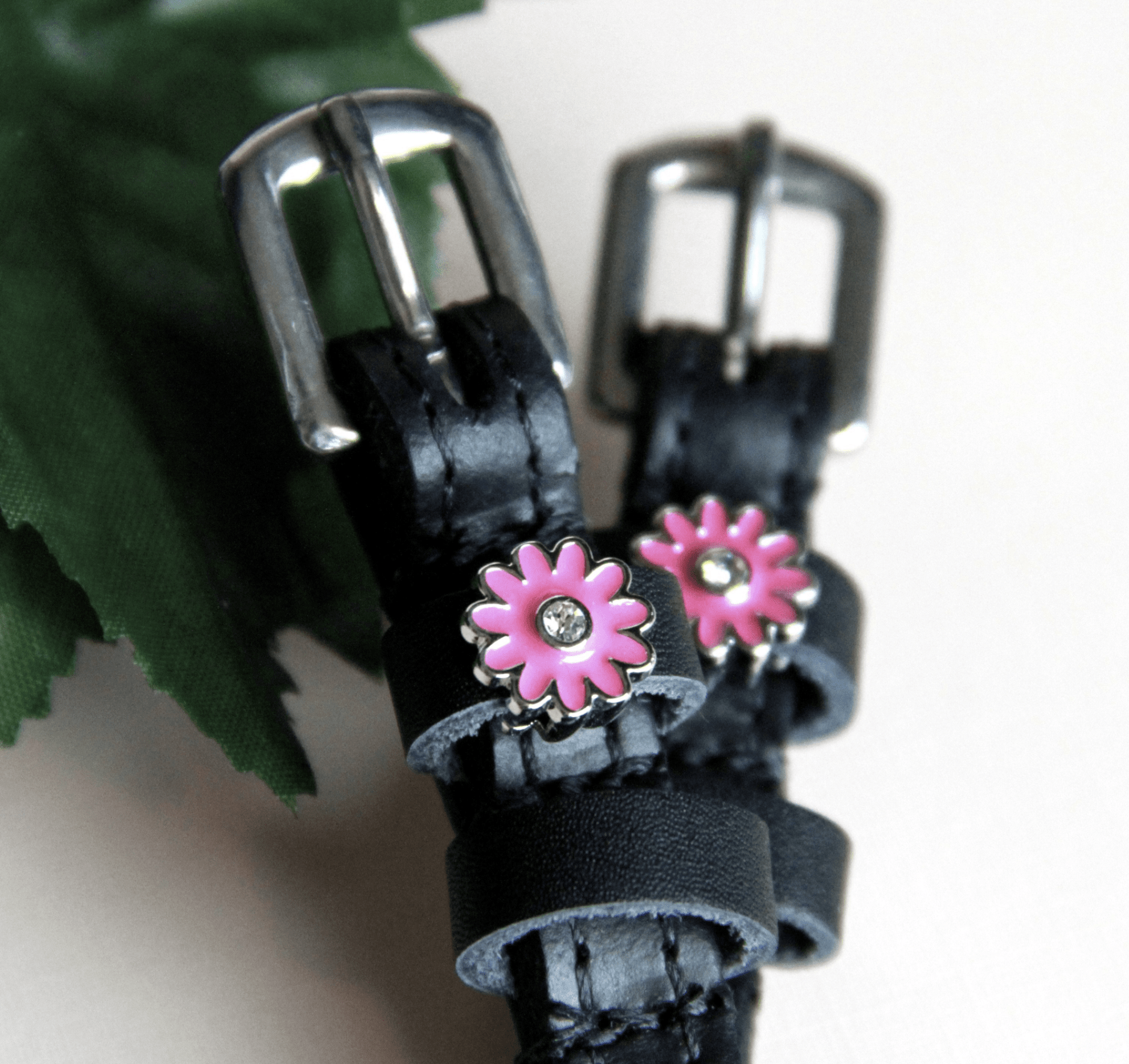 ManeJane Black Spur Straps Pink Flowers Spur Straps equestrian team apparel online tack store mobile tack store custom farm apparel custom show stable clothing equestrian lifestyle horse show clothing riding clothes horses equestrian tack store