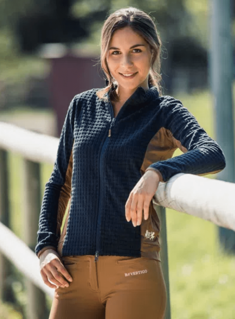 Horze Jacket Darcy Technical Fleece - Dark Navy/Brown equestrian team apparel online tack store mobile tack store custom farm apparel custom show stable clothing equestrian lifestyle horse show clothing riding clothes horses equestrian tack store
