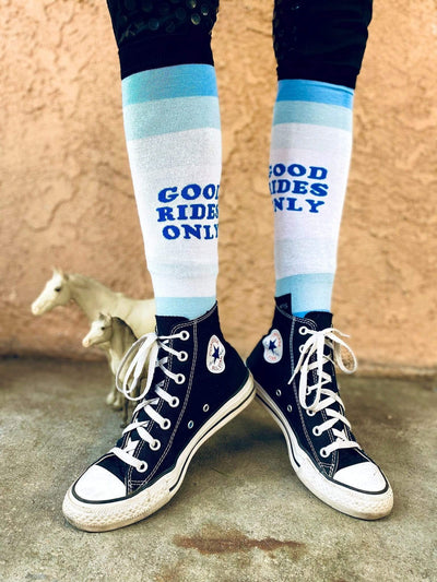 dreamers & schemers Boot Sock DAPPLE BAY - GOOD RIDES ONLY BLUE KNIT equestrian team apparel online tack store mobile tack store custom farm apparel custom show stable clothing equestrian lifestyle horse show clothing riding clothes horses equestrian tack store