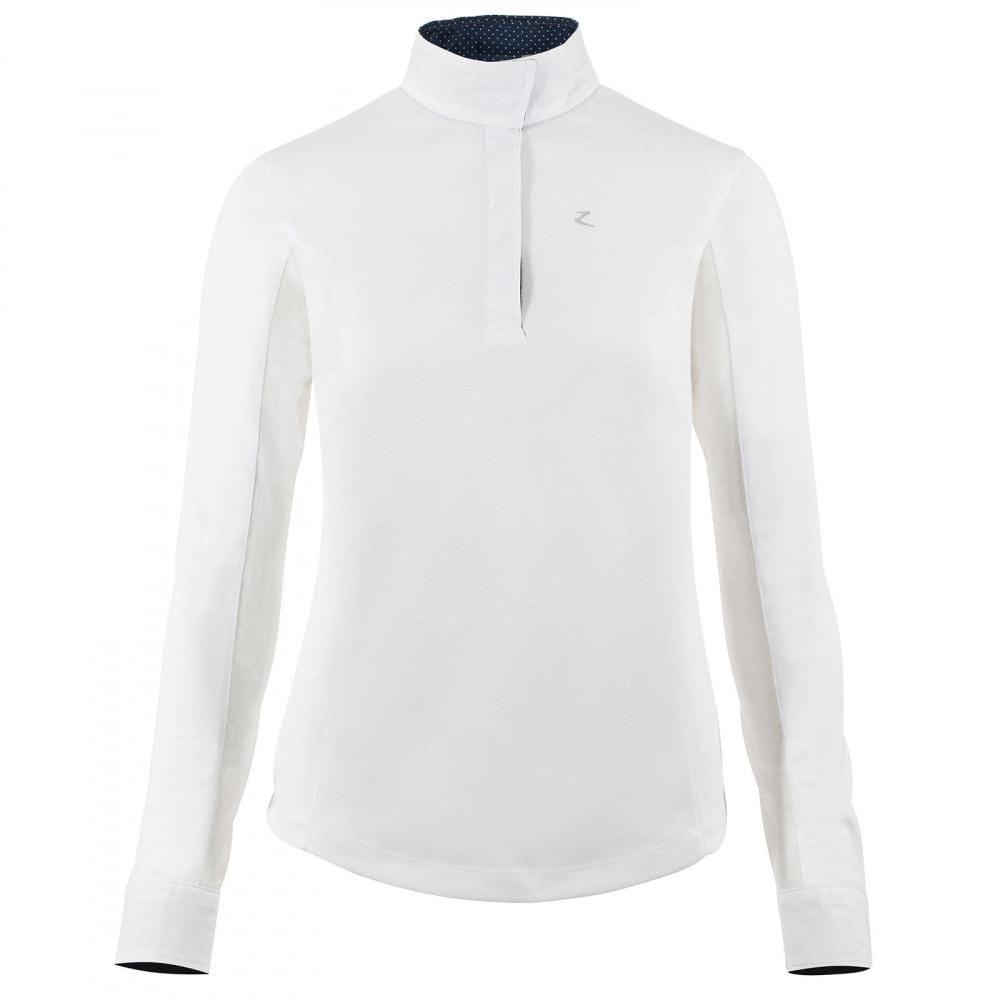 Horze Sunshirt US4 (EU 34) / White/Dark Navy Horze Women's Blaire Sun Show Shirt - Long-Sleeved equestrian team apparel online tack store mobile tack store custom farm apparel custom show stable clothing equestrian lifestyle horse show clothing riding clothes horses equestrian tack store