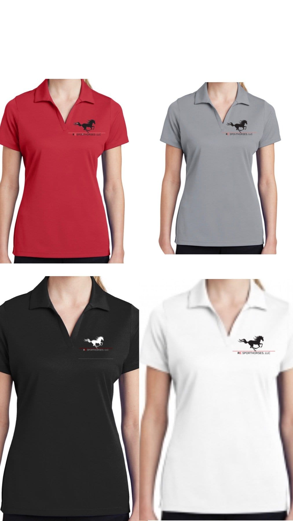 Equestrian Team Apparel Custom Team Shirts RE Sporthorses, LLC Short Sleeve Polo equestrian team apparel online tack store mobile tack store custom farm apparel custom show stable clothing equestrian lifestyle horse show clothing riding clothes horses equestrian tack store