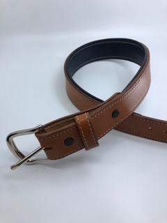 Equestrian Team Apparel Belt Padded Leather Belts - Natural Tan/Navy equestrian team apparel online tack store mobile tack store custom farm apparel custom show stable clothing equestrian lifestyle horse show clothing riding clothes horses equestrian tack store
