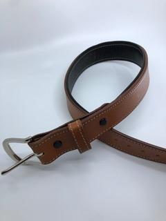 Equestrian Team Apparel Belt Padded Leather Belts - Natural Tan/Black equestrian team apparel online tack store mobile tack store custom farm apparel custom show stable clothing equestrian lifestyle horse show clothing riding clothes horses equestrian tack store
