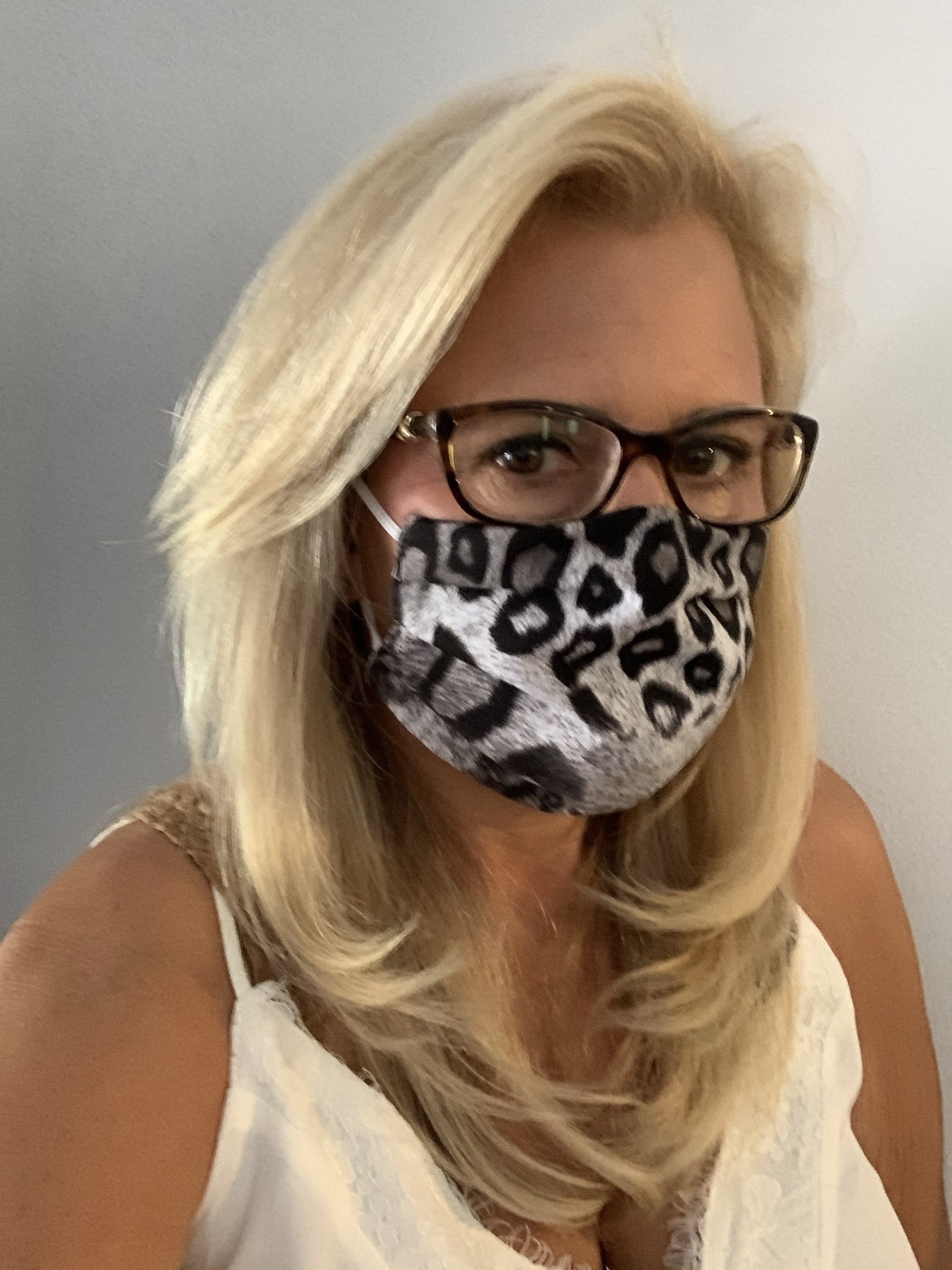 Stacy Bradley Design Face Mask Gray Leopard equestrian team apparel online tack store mobile tack store custom farm apparel custom show stable clothing equestrian lifestyle horse show clothing riding clothes horses equestrian tack store